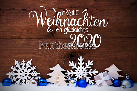 christmas tree blue ball snow glueckliches
