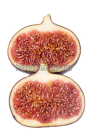 fresh two halves of figs isolated