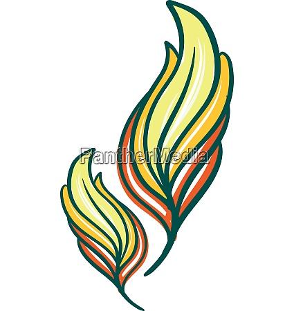 amarillo y verde color pluma vector