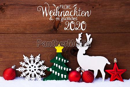 ornament snow tree ball glueckliches 2020
