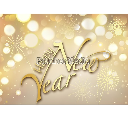 gold bokeh happy new year greeting