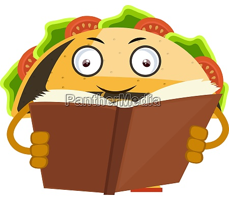 libro de lectura de taco ilustracion
