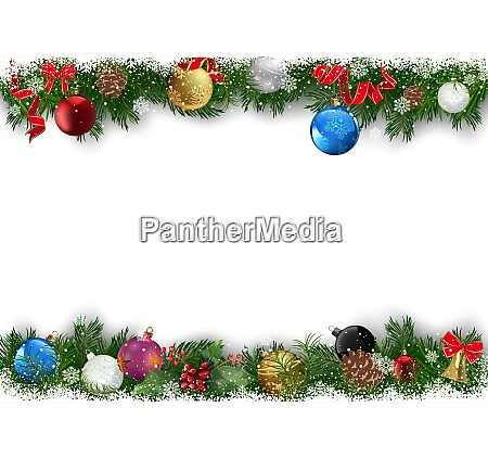 christmas background with decorated branches