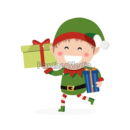 christmas goblin little elf with presents