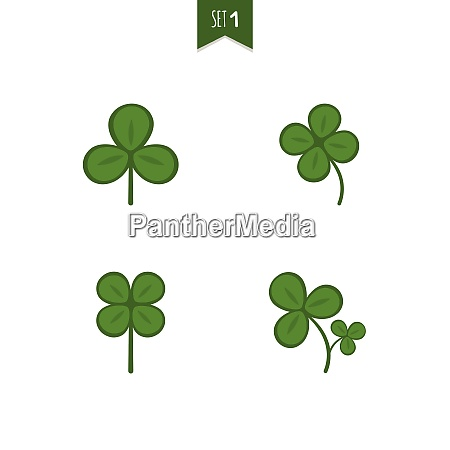 luck clover leaves vector set isolated