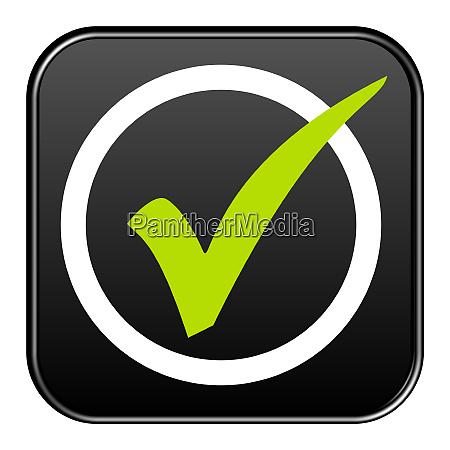 black button green tick in white