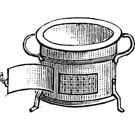 horno para el almuerzo grabado vintage