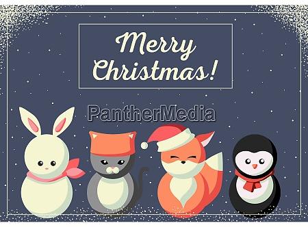 tarjeta de navidad con animales lindos