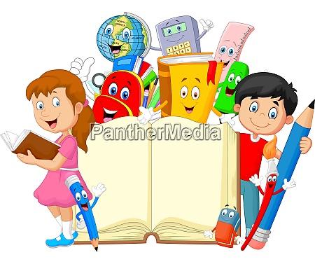 ninyo de dibujos animados con papeleria