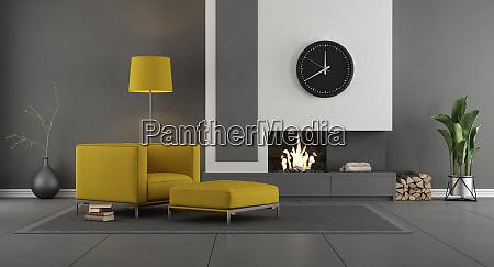 sala de estar moderna gris y