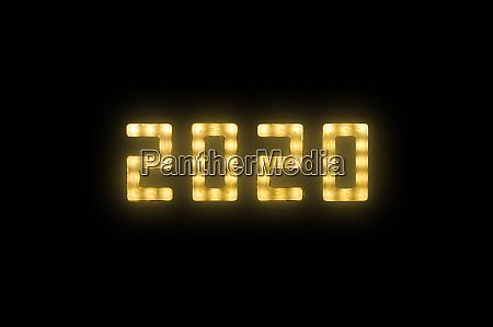 amarillo, neón, brillante, led, 2020, signo - 27628945