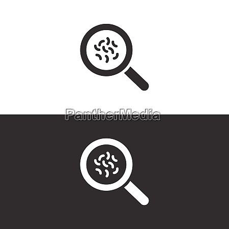 magnifying glass with germs icon on