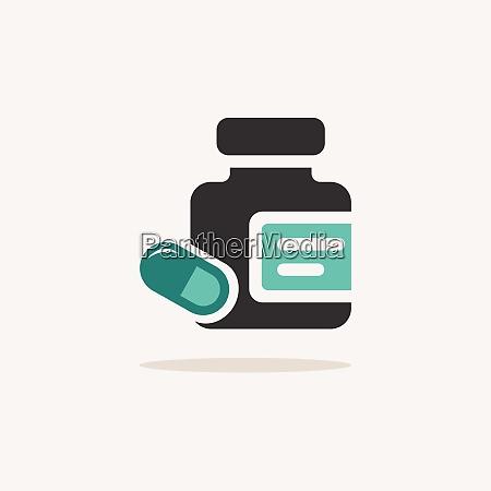 medicine pills and capsules bottle icon