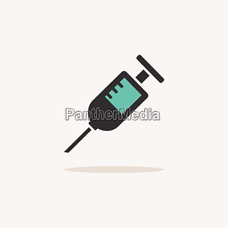 syringe icon with shadow on a
