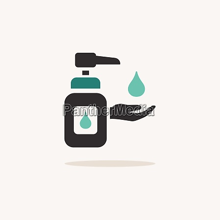 sanitizer soap icon with shadow on