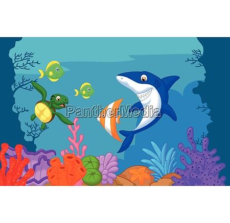 dibujos animados de vida marina