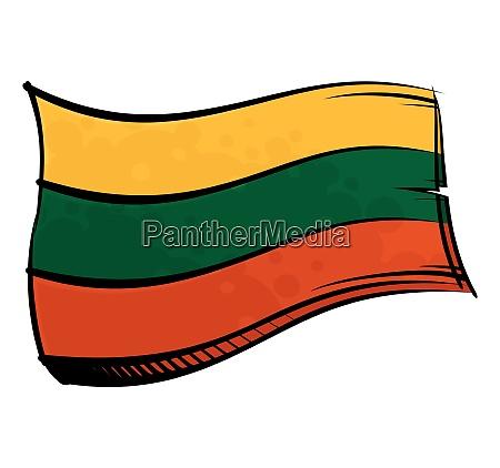bandera pintada de lituania ondeando en