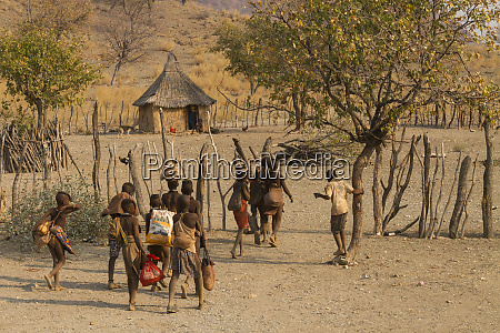 africa namibia himba children returning home