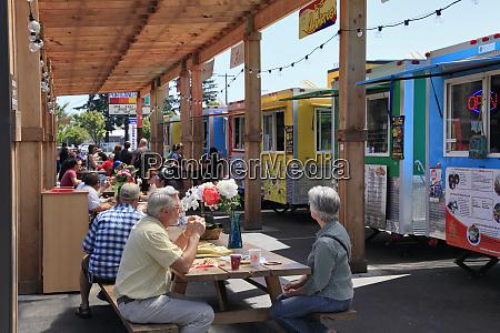usa oregon portland diners outside mercado
