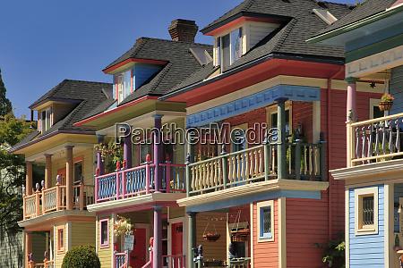 usa oregon portland brightly painted row