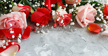 roses and small white flowers