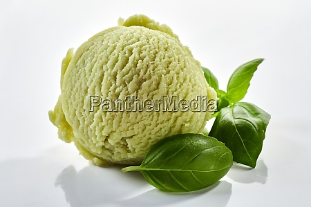 herbal basil flavored ice cream with