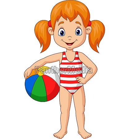dibujos animados chica feliz sosteniendo una