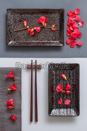 palillos, placa, rectangular, y, flores, rosas, sobre - 28196512