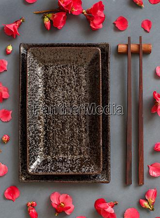 palillos, placa, rectangular, y, flores, rosas, sobre - 28205641