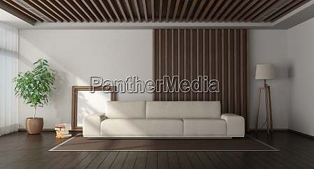 salon minimalista con paneles de madera