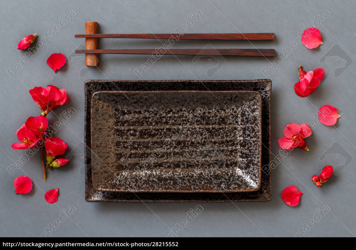 palillos, placa, rectangular, y, flores, rosas, sobre - 28215552