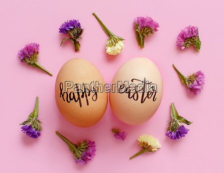 eggs with inscription happy easter and