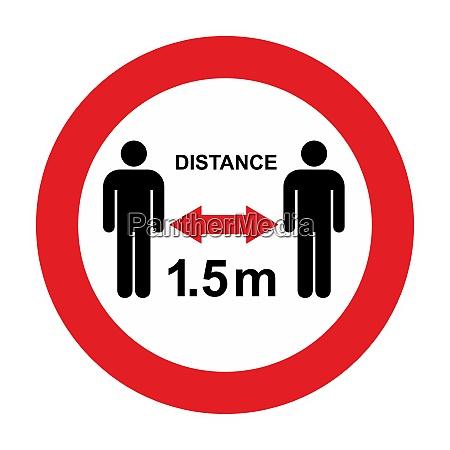 advertencia de distancia social y signo