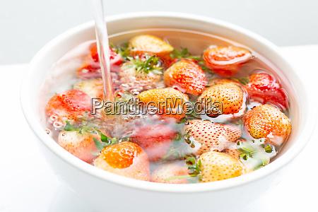 fresas empapadas en agua lavado de