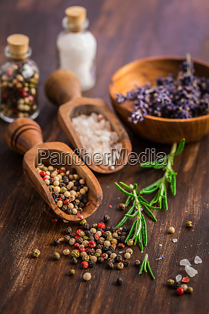 salt pepper with rosamary and lavender