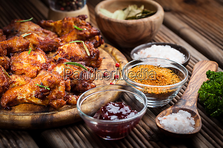hot chicken wings with different spices