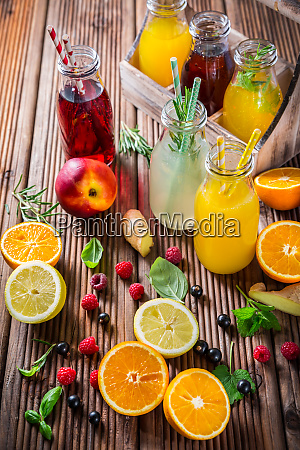 assortment of juices and lemonades with