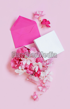 pink envelope and gift box full