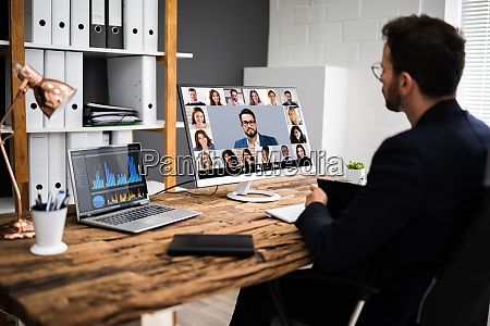reunion de entrevista de videoconferencia en