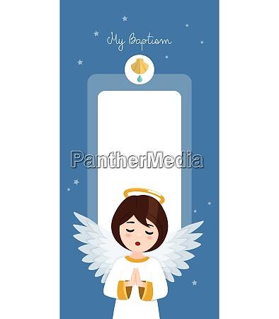 Angel de oracion invitacion vertical de