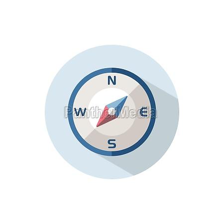 brújula, en, dirección, suroeste., icono, plano - 29263546