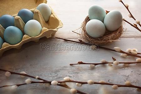 huevos de pascua azul tierno en