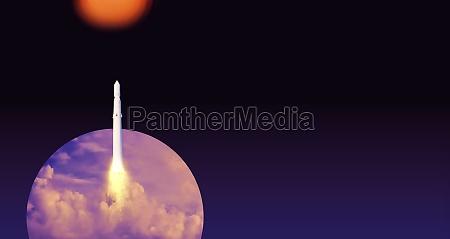 nave espacial despega al espacio cohete