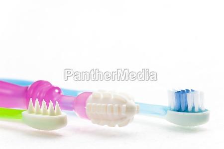 dentidores de bodegones y cepillo de