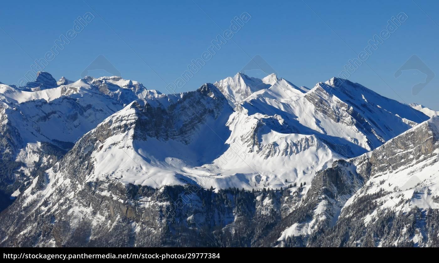 altas, montañas, en, suiza, central, vista, desde - 29777384
