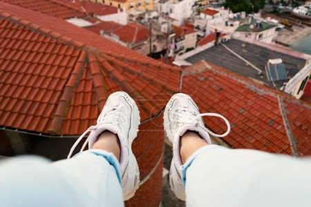 vista panoramica horizontal alto viajes hembra