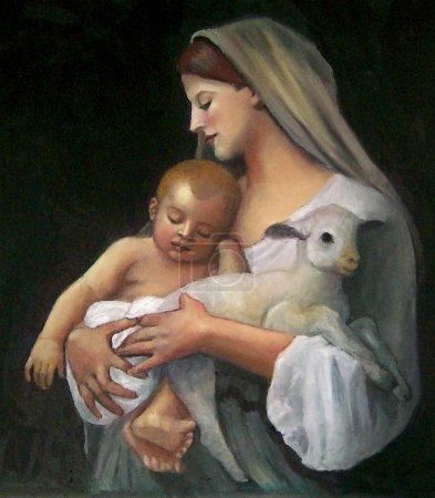 pintura, copia, Navidad, arte, aceite, niño - B4251913
