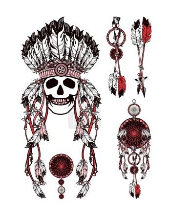 vector, Ilustración, origen étnico, cabeza, antiguo, retro - B99948912