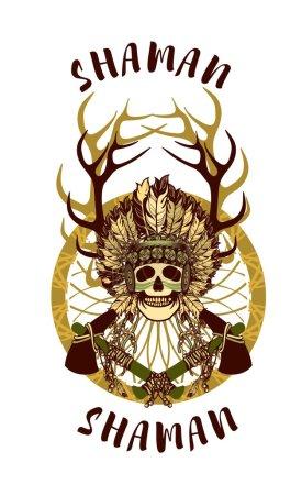 vector, Ilustración, origen étnico, cabeza, antiguo, retro - B95569154
