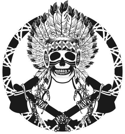 vector, Ilustración, origen étnico, cabeza, antiguo, retro - B95569132